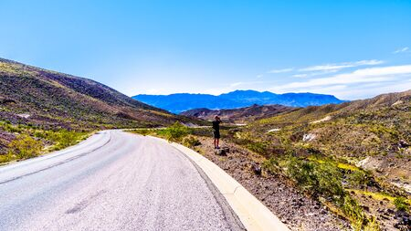 Northshore Road SR167 in Lake Mead National Recreation Area winds through semi desert landscape with colorful mountains between Boulder City and Overton in Nevada, USA