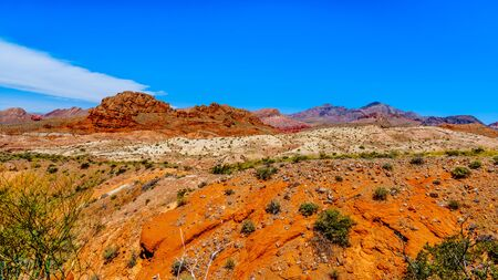 Colorful Mountains along Northshore Road SR167 in Lake Mead National Recreation Area runs through semi desert landscape between Boulder City and Overton in Nevada, USA