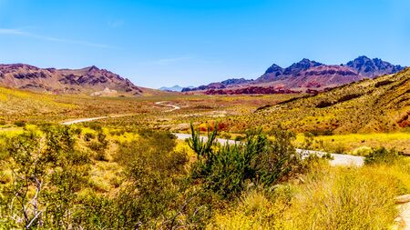 Northshore Road SR167 in Lake Mead National Recreation Area winding through semi desert landscape with colorful mountains between Boulder City and Overton in Nevada, USA