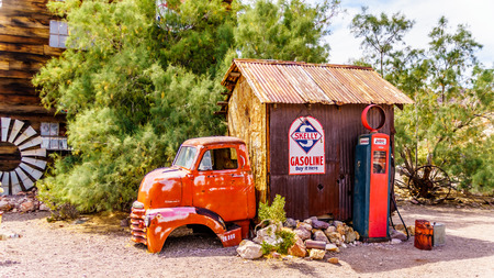 El Dorado Canyon, NevadaUSA - June 10 2019: One of the many buildings and historic vehicles used in movies are still in the old mining town of El Dorado in the Eldorado Canyon in the Nevada Desert