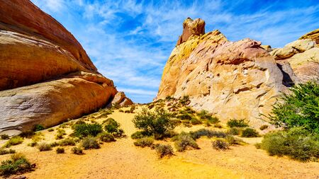 The colorful red, yellow and white sandstone rock formations at the White Dome Trail in the Valley of Fire State Park in Nevada, USA Imagens