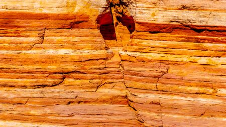 Close Up of a Colorful Banded Rocks in the Valley of Fire State Park in Nevada, United States