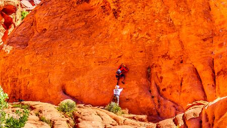 Practicing Repelling and Climbing on the Red Sandstone Mountains at the Guardian Angel Trail in Red Rock Canyon National Conservation Area near Las Vegas