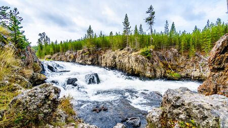 The Cascades of the Firehole River along the Firehole Canyon Road in Yellowstone National Park, Wyoming, United States