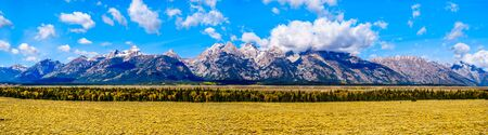 Panorama of the Grand Tetons Range In Grand Tetons National Park near Jackson Hole, Wyoming, United States