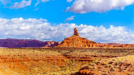 The Red Sandstone Buttes and Pinnacles in the semi desert landscape in the Valley of the Gods State Park near Mexican Hat, Utah, United States