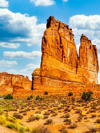 The Organ, a Sandstone Rock Formation along the Arches Scenic Drive in Arches National Park near Moab, Utah, United States