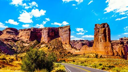 Sheep Rock, a Sandstone Formation along the Arches Scenic Drive in Arches National Park near Moab, Utah, United States