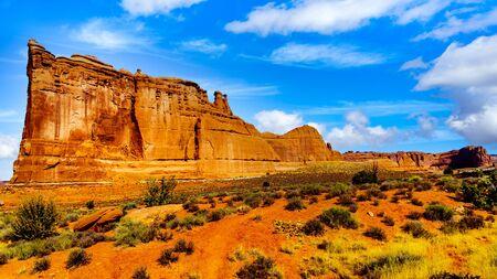 The Tower of Babel, a Sandstone Formation along the Arches Scenic Drive in Arches National Park near Moab, Utah, United States 스톡 콘텐츠