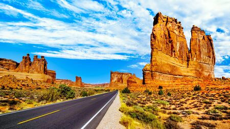 The Organ, a Sandstone Formation along the Arches Scenic Drive in Arches National Park near Moab, Utah, United States