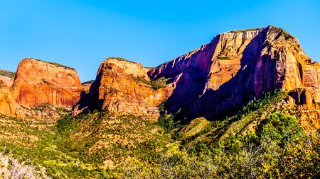 View of Nagunt Mesa, and other Red Rock Peaks of the Kolob Canyon part of Zion National Park, Utah, United Sates. Viewed from the East Kolob Canyon Road