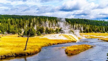 The Firehole River in the Upper Geyser Basin along the Continental Divide Trail in Yellowstone National Park, Wyoming, United States