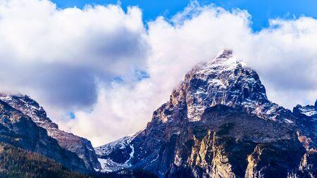 The 13,770 ft high mountain peak of Grand Teton mountainin the Teton Range of Grand Teton National Park in Wyoming, United States
