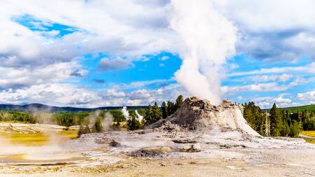 Steam coming out of the Castle Geyser in the Upper Geyser Basin along the Continental Divide Trail in Yellowstone National Park, Wyoming, United States Standard-Bild