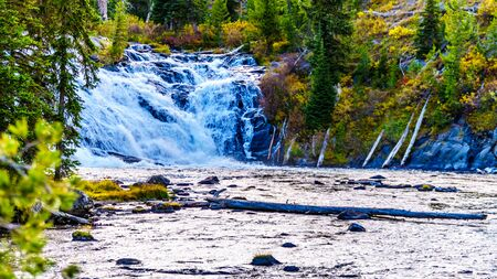 Lewis Falls in the Lewis River at the crossing with Highway 287 in Yellowstone National Park, Wyoming, United States