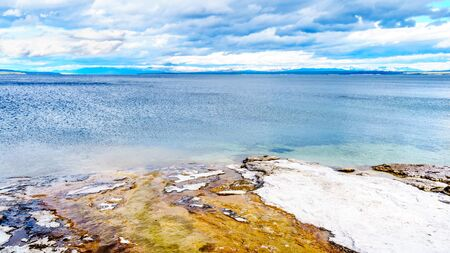 The shoreline of Yellowstone Lake at the West Thumb Geyser Basin in Yellowstone National Park, Wyoming, United States