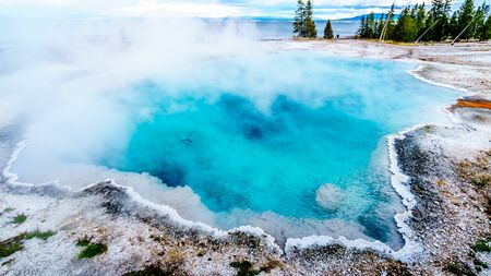 The turquoise colored of the Back Pool in the West Thumb Geyser Basin in Yellowstone National Park, Wyoming, United States