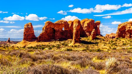 Unique Red Sandstone Formations of the Parade of Elephants in Arches National Park near the town of Moab in Utah, United States