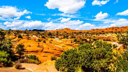 View of the Unique Red Sandstone Pinnacles and Rock Fins at the Garden of Eden in Arches National Park near the town of Moab in Utah, United States