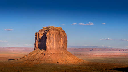 The sandstone formations of Merrick Butte in the desert landscape of Monument Valley Navajo Tribal Park in southern Utah, United States