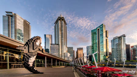 Vancouver, BC/Canada - July 16, 2020: Sunset over the Digital Orca Sculpture at Jack Pool Plaza in Downtown Vancouver