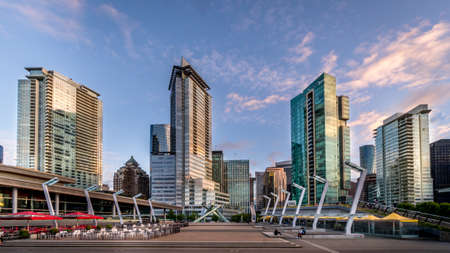 Vancouver, BC/Canada - July 16, 2020: Sunset over the Jack Pool Plaza in Downtown Vancouver