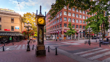 Vancouver, BC/Canada - July 16, 2020: The famous Steam Clock on the corner of Water Street and Cambie Street in the historic Gastown part of Vancouver