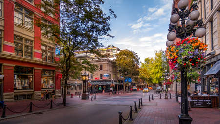 Vancouver, BC/Canada - July 16, 2020: The famous Water Street with its Steam Clock, Shops and Restaurants in the historic Gastown part of Vancouver