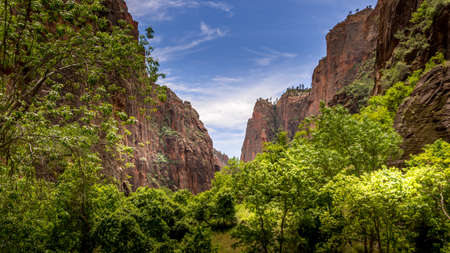 Mystery Canyon and the The Narrows where the Virgin River carved its way through the Sandstone Mountains of Zion National Park, Utah, United Sates