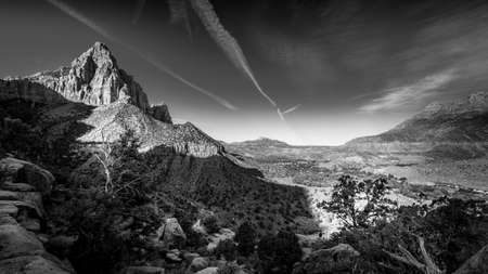 Black and White Photo of The Watchman Peak and the Virgin River Valley in Zion National Park in Utah, USA, during an early morning hike on the Watchman hiking trail