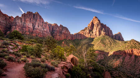 Sunrise over The Watchman Peak in Zion National Park in Utah, USA, during an early morning hike on the Watchman hiking trail