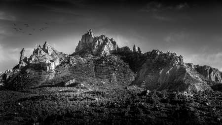 Black and White Photo of Sunset over Eagle Crags West mountain just south of Zion National Park in Utah, USA Archivio Fotografico