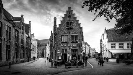 Brugge/Belgium - Sept. 18 2018: Black and White Photo of Historic Brick Houses at the corner of Mariastraat and Heilige-Geeststraat in the heart of the medieval city of Bruges, Belgium