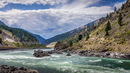 Thompson River with its many rapids flowing through the Canyon in the Coastal Mountain Ranges of British Columbia, Canada Stok Fotoğraf