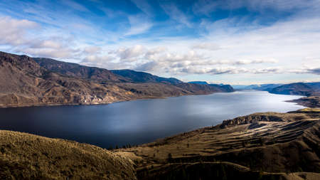Fall Colors of the Mountains surrounding Kamloops Lake along the Trans Canada Highway in British Columbia, Canada