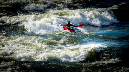 Spences Bridge, BC/Canada-Feb. 14, 2015: White Water Kayaking in the Rapids of the Thompson River near Spences Bridge in British Columbia, Canada Editöryel