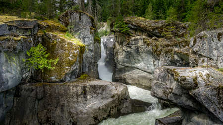 Nairn Falls on the Lillooet River between the towns of Whistler and Pemberton in British Columbia, Canada Stok Fotoğraf