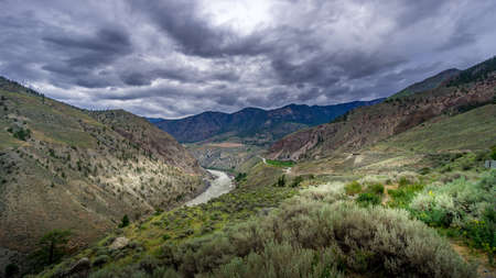 Bad weather hanging over th e Fraser Canyon and Highway 99 near Lillooet in British Columbia, Canada