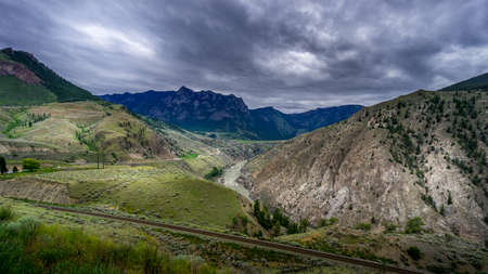 Bad weather hanging over the Fraser Canyon and Highway 99 near Lillooet in British Columbia, Canada Stok Fotoğraf