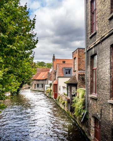 Historic Buildings along he Canals of the Medieval City of Bruges in Belgium