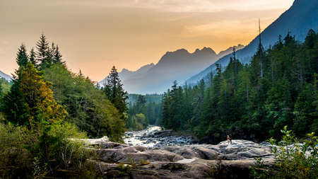 Sunset over the Kennedy River at the Pacific Rim National Park on the West Coast of Vancouver Island, British Columbia, Canada Stok Fotoğraf