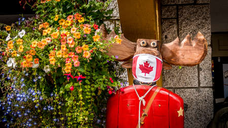 Whistler, BC/Canada - Sept 22, 2020: Wooden Statue of a Moose in a Mountie Uniform with a Canadian Maple Leaf Face Mask