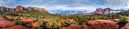 Panorama of Cathedral Mountain and Munds Mountain Wilderness between the Village of Oak Creek and Sedona in northern Arizona in Coconino National Forest, United States of America