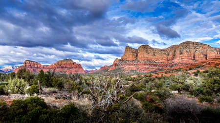 The Red Rocks the Munds Mountain, Twin Buttes and Surrounding Mountains near the town of Sedona in northern Arizona in Coconino National Forest, USA