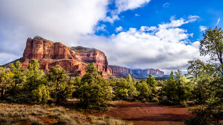 The red rock mountain Courthouse Butte between the Village of Oak Creek and Sedona in Northern Arizona in Coconino National Forest in the United States