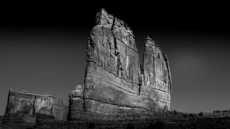 Black and White Photo of the Organ, a Sandstone Formation along the Arches Scenic Drive in Arches National Park near Moab, Utah, United States Фото со стока