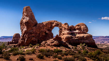 Turret Arch, one of the many large Sandstone Arches in Arches National Park, Utah, United States