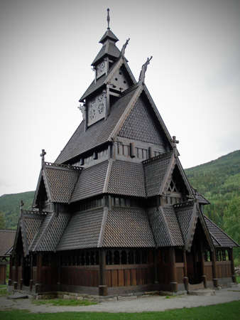노르웨이 Gol에있는 stavechurch 모델