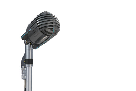 Vintage microphone on white background Imagens