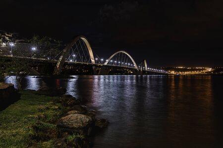 Night view of the JK bridge in Brasilia, Brazil. Editorial